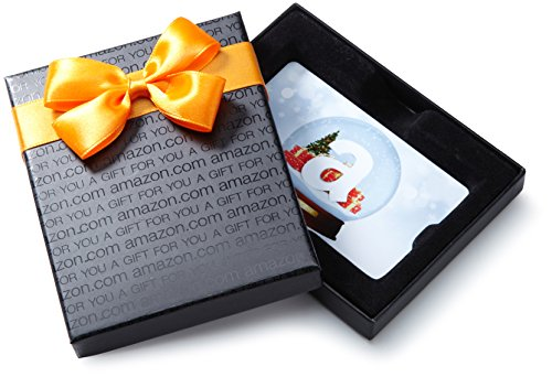 Amazon.com $100 Gift Card in a Black Gift Box (Holiday Globe Card Design)