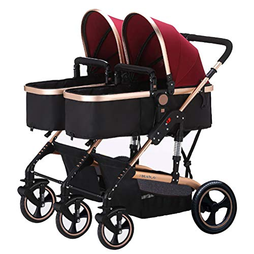 ZXYSR Twin kinderwagen paraplu lichtgewicht dubbele kinderwagens kinderwagen kant door Tandem voor 2 kinderen, zitten en staan Tweelingen Compact reizen Baby Combi