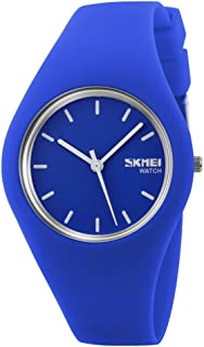 TONSHEN Simple Fashion Analog Quartz Watch Rubber Band Casual Style Wrist Watches for Women Girl 12 Colours (Blue)