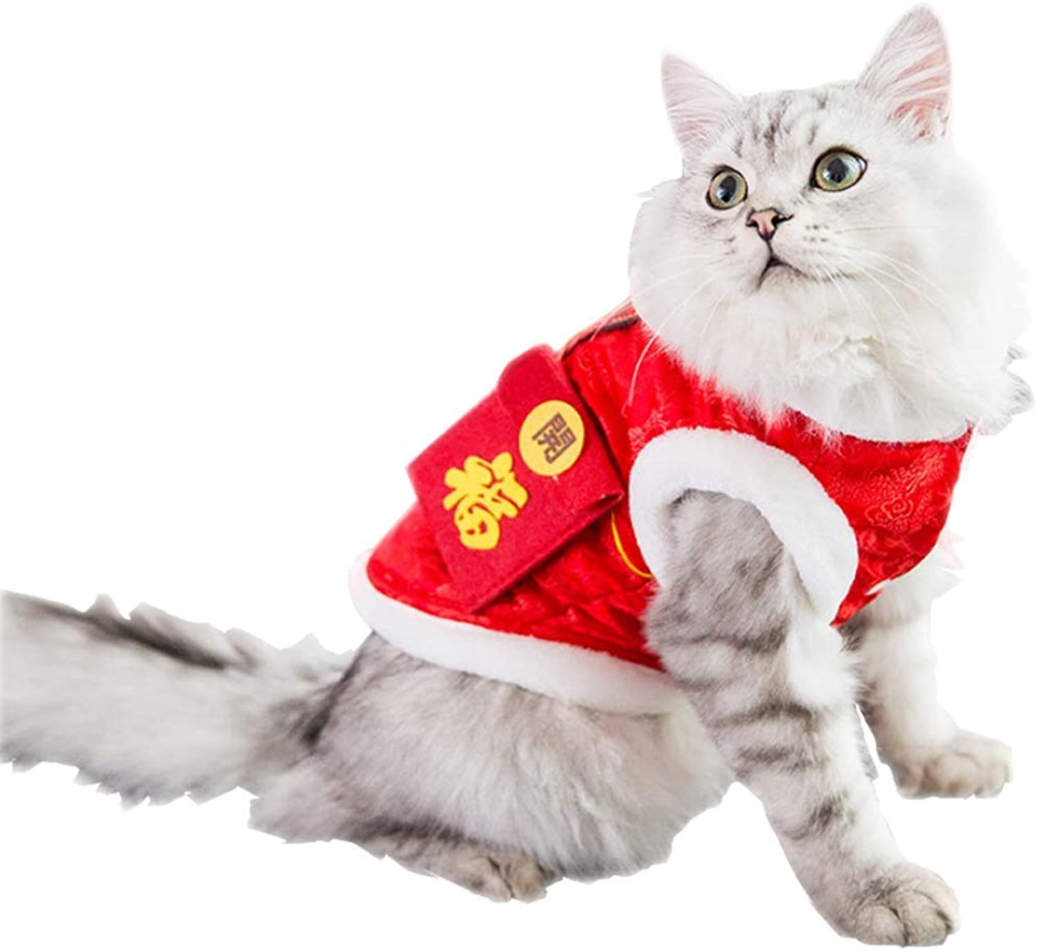 HYLH Pet Clothes, Cat Pet Tang Suit Winter Warm Cute Clothing, Small Medium Coat Lucky Cat Coustem (Größe   L)