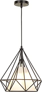Pendant Lighting Fixture one-Light,The Nordic Modern Retro Industrial Metal Bird cage Diamond Shade Ceiling Hanging Light for Kitchen Island Dining Room Hallway (17.72in17.72in)
