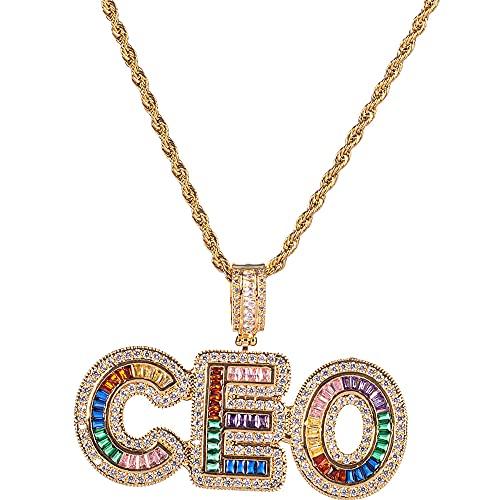 Collar personalizado de letras de burbujas personalizado A-Z multicolor diamante letra colgante collar de alfabeto de circonita de cobre Hip Hop helado regalo personalizado