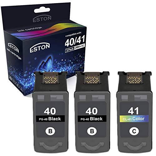 ESTON 3Pack Remanufactured Replacement for PG-40 Black CL-41 Color Ink Cartridges Fit for Pixma Series Printers (2Black+1Color)