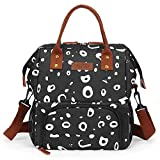 LOKASS Lunch Bags For Women Wide-Open Insulated Cooler Tote Bag Water-Resistant Thermal Lunch Box Lunch Container With Double Deck Capacity Adjustable Shoulder Strap for Men/Work/Office(Black)
