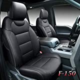 Tecoom Front and Back Seat Covers 5 Pieces, Waterproof Leather Truck Seat Protectors Custom Fit Full Set, Compatible with Ford F-150 2015-2021 & F-250 F-350 F-450 2017-2021 (Raptor Style, Black)