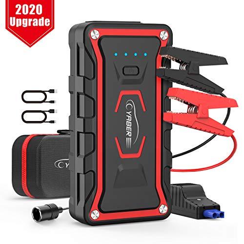 YABER Booster Batterie Voiture, 1600A 20000mah Booster de Batterie Voiture Moto (Toute Essence, jusqu' 7.0L Diesel) avec Deux Lamp LED,Deux Ports USB Charge Rapide 3.0