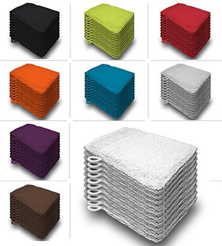 one-home 10er Set Waschhandschuhe Waschhandschuh Waschlappen 16x21 cm Frottee Baumwolle, Farbe:Weiß