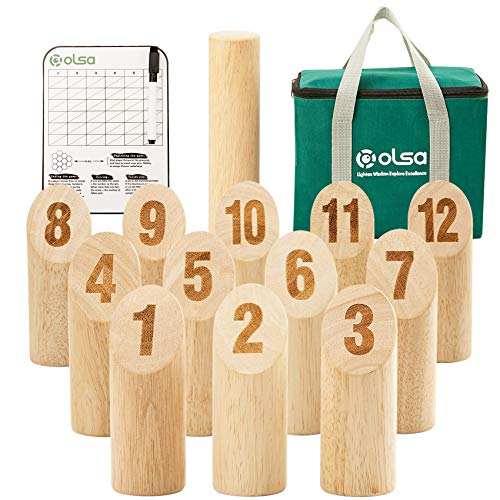 Olsa Wooden Throwing Game Set, Numbered Block Tossing Game with Scoreboard & Carry Bag-Outdoor Backyard Lawn Game for Kids Adults Family