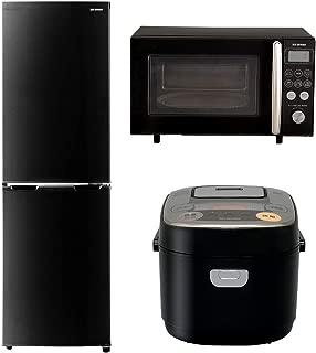 【セット買い】アイリスオーヤマ 冷蔵庫 162L ブラック IRSE-16A-B & オーブンレンジ 15L ブラック MO-T1501-B & 炊飯器 IH式 3合 銘柄炊き分け機能付き RC-IB30-B セット
