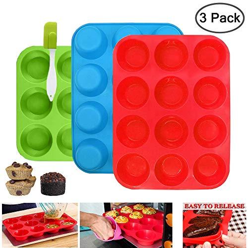 3Set Muffinform Silikon, Muffinblech aus Silikon für 12 Muffins und 1 X Spatel, Antihaft & Leicht zu Reinigen (Rot / Blau / Grün)