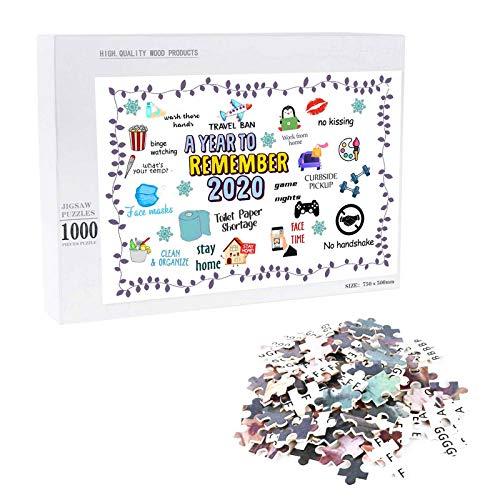 Puzzle 1000 Teile Papier 1000 Stück Puzzles Jigsaw 2020 *Year Remember* Jährliche Veranstaltung Intellektuelles Spiel Familienspiele Puzzlematte Geschenk Puzzleteile für Familie Kinder Erwachsene