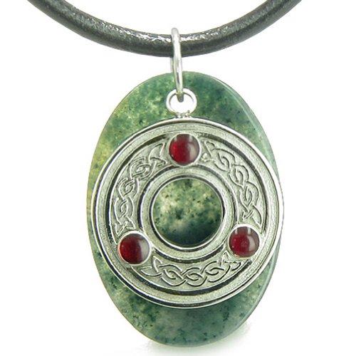 BestAmulets Amulet Celtic Triquetra Protection Knot Moss Agate Good Luck Leather Pendant Necklace