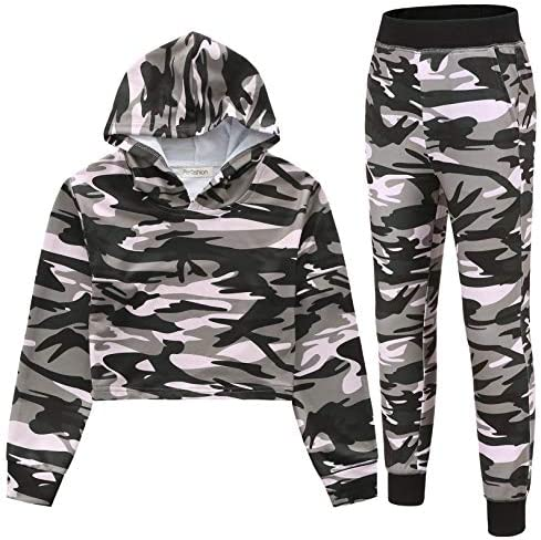 Teen Camo Track Suit Long Sleeve Sweatshirt Top Sweatpants Winter Hoodie Outfit Set 10 11 product image