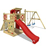 WICKEY Aire de jeux Portique bois Smart Camp avec balançoire et toboggan rouge, Cabane enfant exterieur avec bac à sable, échelle d'escalade & accessoires de jeux