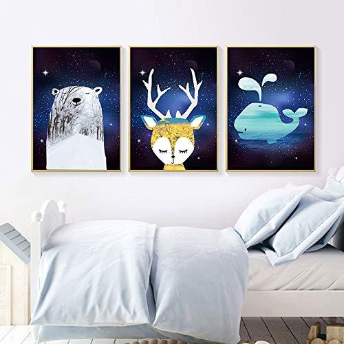 Cartoon Animal hert beer canvas, muurschildering, kunstdruk, decoratie voor kinderkamer Nordic AliExpress huis en tuin schilderkunst en kalligrafie