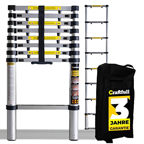 𝐂𝐑𝐀𝐅𝐓𝐅𝐔𝐋𝐋 Aluminium Teleskopleiter inkl. Tragetasche - 𝟑 𝐉𝐀𝐇𝐑𝐄 𝐆𝐀𝐑𝐀𝐍𝐓𝐈𝐄 - Mehrzweckleiter - Stehleiter - Aluminiumleiter - Leiter - Aluleiter (3.2 Meter)