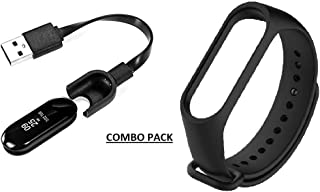 Rhymestore TPE Strap and USB Charger Combo Pack for Xiaomi Mi Band 3 and MI Band HRX Edition