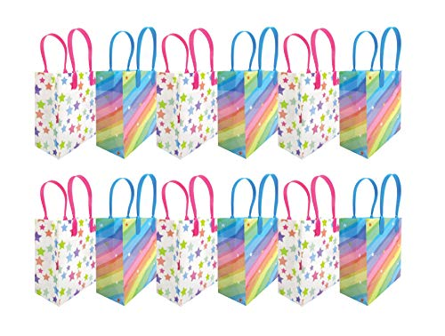 Rainbow Themed Party Favor Bags Treat Bags, 12 Pack