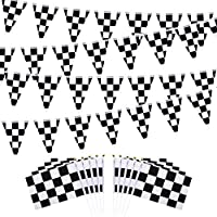 Checkered Black and White Pennant Banner Racing Flags