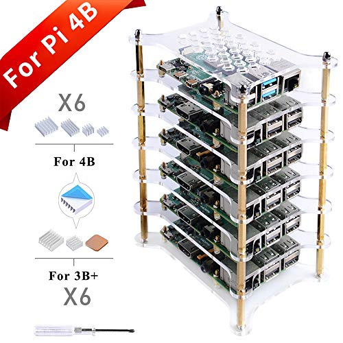 GeeekPi 6-Layers Raspberry Pi Cluster Case,Raspberry Pi Rack Case With Raspberry Pi Heatsinks Stackable Case Stack Enclosure For Raspberry Pi 4/3/2 Model B,Raspberry Pi 3 Model B+ (Clear)