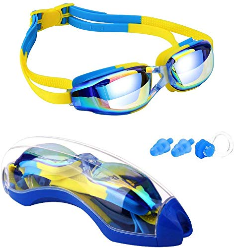 Voroly Swimming Goggles with Anti-Fog UV Protection No Leaking Coated Lens with Case,Nose Clip,Earplugs for Boys Girls Youth Kids