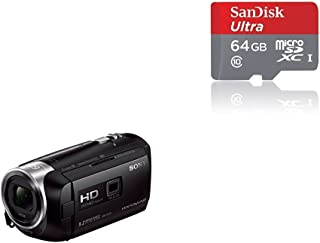 Sony HDR-PJ410 - Videocámara (pantalla de 2.7 zoom óptico 30x WiFi NFC) negro + SanDisk Ultra - Tarjeta de memoria microSDHC UHS-I de 64 GB con adaptador SD velocidad de lectura hasta 80 MB/s Clase 10