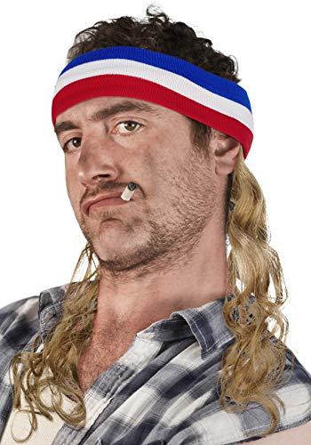 Vokuhila Kopfband mit Haaren Stirnband Hillbilly Headband Prollperücke perücke Proll Perücke Pimp (Blond)