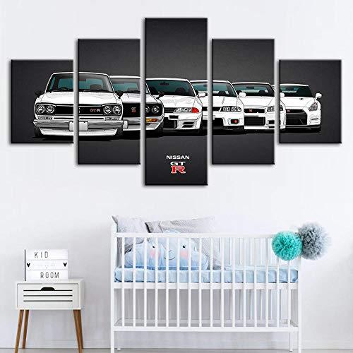 WJY Arte de Pared Cuadros modulares Carteles Impresos en Lienzo Nissan GTR Pintura de Coches Decoración Moderna para el hogar Sala de Estar de Moda 20x30cm-2p 20x40cm-2p 20x50cm-1p Sin Marco