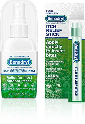 Benadryl Extra Strength Cooling Anti-Itch Spray 2 fl. Oz and Benadryl Extra Strength Itch Relief Stick 0.47 fl. oz, Both with Diphenhydramine 1 ea