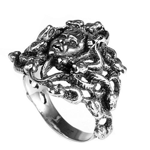 LAMUCH joyas vintage acero inoxidable serpiente anillos de cabeza de Medusa para hombre