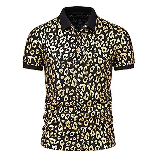 Shirt Hombre Verano Botones Elásticos Hombre Shirt Ocio Moderno Estampado Moda Hombre Polo Manga Corta Tendencia Empresarial Golf Deporte Al Aire Libre Hombre Shirt Músculo D-Black M