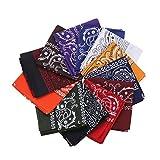 12pcs Bandana, Assorted Bandanas 22X22 Inch 100% Cotton, Double Sided Print Paisley Bandana Party Favor Scarf Headband Handkerchiefs