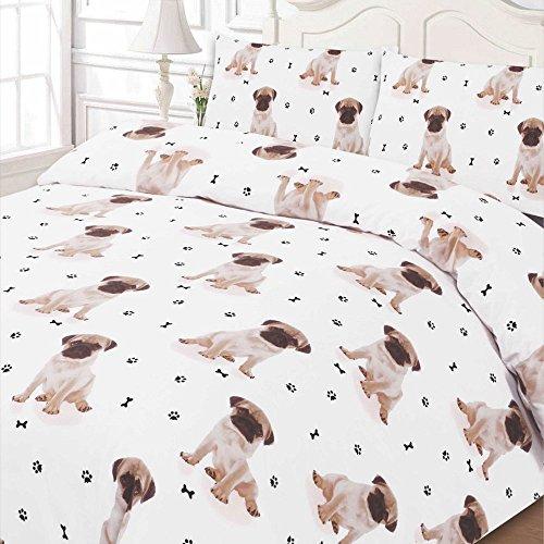 Dreamscene Luxuriös Weich Tier Mops Bettbezug Bettwäsche-Set mit Kissenbezügen, weiß, King