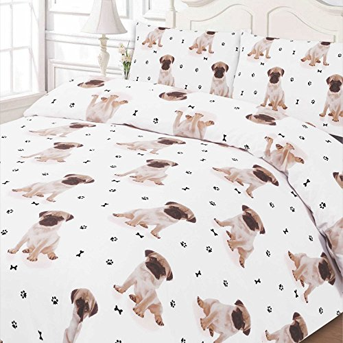 Dreamscene PUGWH02 Luxuriously Soft Animal Pug Duvet Cover Bedding Set With Pillowcases, White, Double
