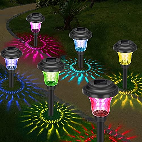 Lampes Solaires Jardin, 6 Pièces Éclairage Solaire Extérieur Étanche Lumière Solaire Extérieure à LED Éclairage Solaire pour Camping, Fête, Pelouse, Jardin Décoration