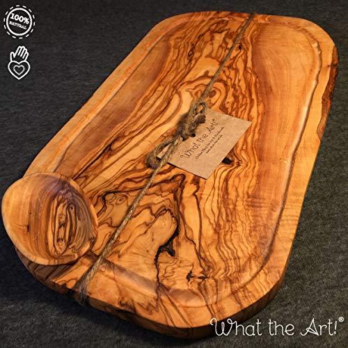 What the Art!® Olive Wood «Big Rustic» Gr. XL | Olivenholz Schneidebrett inkl. Dip-Schälchen + Geschenk | ca. 50-53 x 22-30 x 2 cm | Käsebrett - Hackbrett - Tranchierbrett - Servierbrett