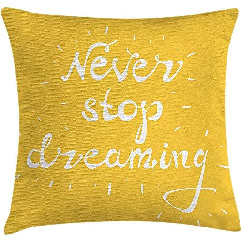 Fodera per cuscino da cuscino dire, saggia evidenziata, non smettere mai di sognare parole, impostazione degli obiettivi di vita, saggezza, immagine di speranza, federa, giallo bianco, 45X45 cm