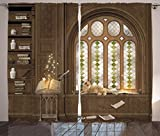 Ambesonne Gothic Curtains, Room for Study in The Medieval Library Cat Sleeping on Window Antique Mansion Print, Living Room Bedroom Window Drapes 2 Panel Set, 108' X 84', Taupe