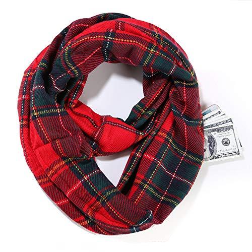 Pocket scarf S- Infinity-Schal-Frauen-Winter-weiche Warmer Schottenkaro Schal Schlauchschal mit versteckter Reißverschluss-Tasche Travel Schal Unisex für Damen