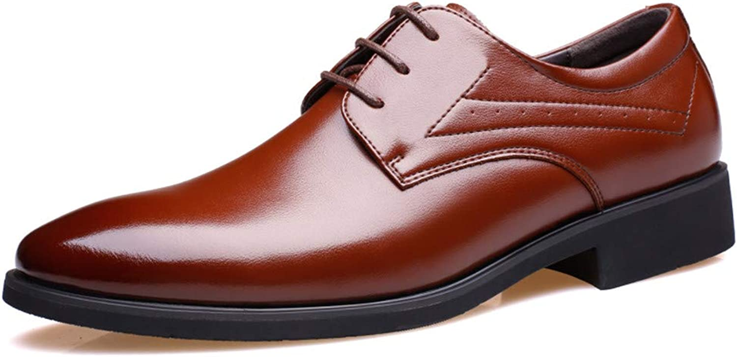 JUJIANFU-shoes Men's Fashion Business Oxford Casual Microfiber Leather Formal shoes 2  (6cm) Taller Removable Height Increasing Insole