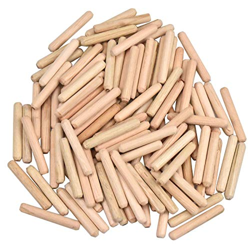 100PCS Pasadores de Madera, Espigas de Madera 6mm X 40mm, Tacos de Madera Redondos, Espiga de Madera para Muebles de Carpintería Carpintero Aficionado DIY