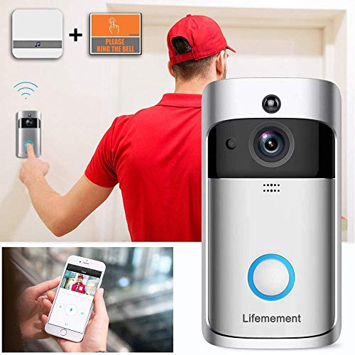 Wireless Doorbell WiFi Smart Video Doorbell 720P HD Smart Security Camera Doorbell with Realtime Push Alerts Watchdog Surveillance System Night Vision (Batteries Included)
