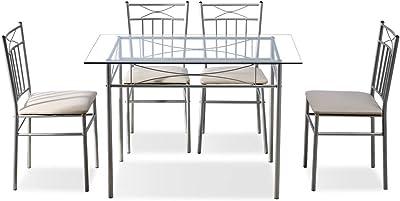 Amazon.com: 5 pc juego de comedor mesa y 4 sillas de madera ...