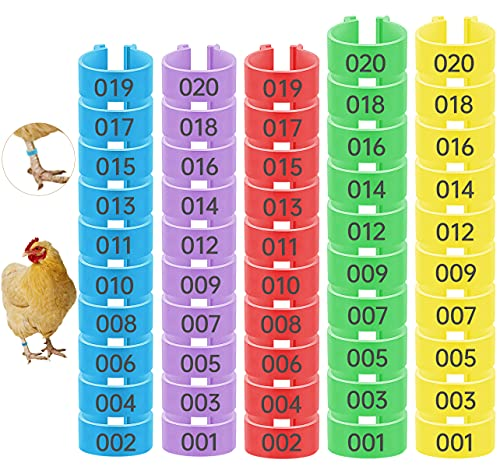 Periflowin 100 Pieces Chicken Leg Rings with Numbers Poultry Identification Leg Bands Multicolor Plastic Chicken Foot Tags Clip on Leg Rings for Game Fowl Turkey Duck Goose Guinea - Size 16mm & 18mm