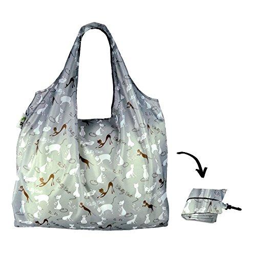 Re-Uz Lifestyle Shopper XL - pieghevole grande borse della spesa riutilizzabili - Catty Cat Powder Blue