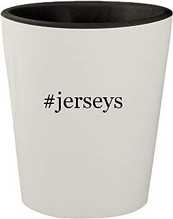 #jerseys - White Outer & Black Inner Hashtag Ceramic 1.5oz Shot Glass