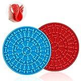 EKKONG 2 Piezas Dog Lick Pad, Bath & Grooming Alimentadores lentos,Dog Lick Plate Silicona Alfombrilla de alimentación para Mascotas Alimentador Lento para Perros con Ventosa (Azul + Rojo)