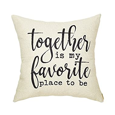Fahrendom Rustic Together is My Favorite Place to Be Farmhouse Quote Décor Sweet Home Sign Cotton Linen Home Decorative Throw Pillow Case Cushion Cover with Words for Sofa Couch 18 x 18 In