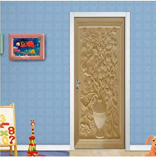 MNJKH Door stickers door decals, European Embossed Flower 3D Door Sticker Self Adhesive Removable Wall Sticker Living Room Door Home Decor Wallpaper Poster