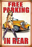 後部の無料駐車場 金属板ブリキ看板警告サイン注意サイン表示パネル情報サイン金属安全サイン